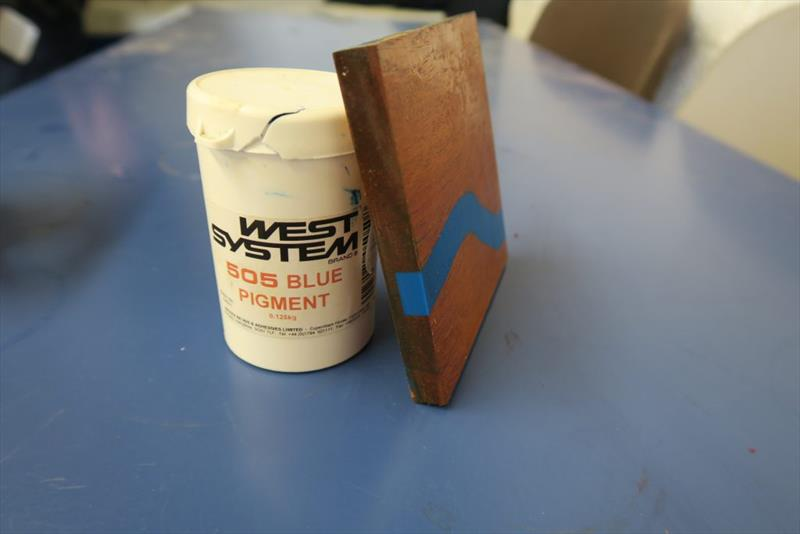 Here one student has experimented with WEST SYSTEM 505 Blue Pigment to make a coaster - photo © Wessex Resins & Adhesives