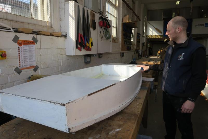 A finished Mouse Boat. The seams are filled with thickened epoxy and reinforcement tape is used along the lower hull joins - photo © Wessex Resins & Adhesives