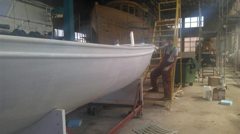 The hull is now painted with a two-pack polyurethane paint from International's Perfection range photo copyright Wessex Resins & Adhesives taken at  and featuring the  class