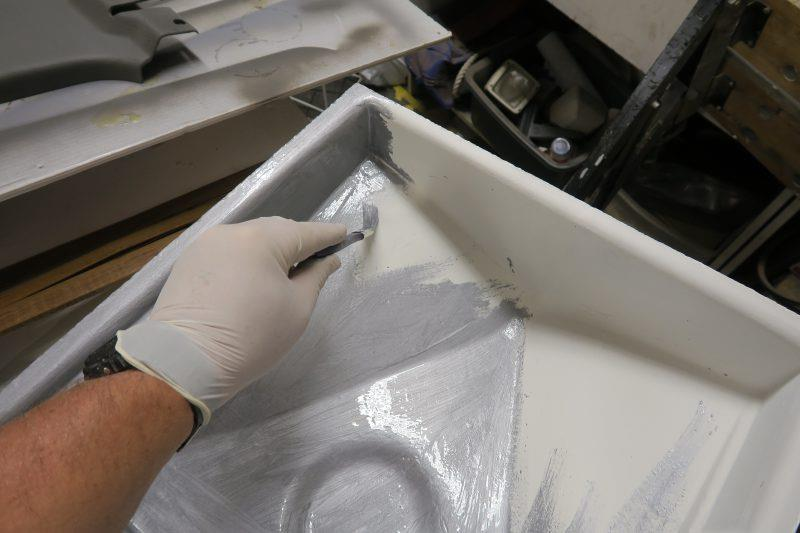 Moulding an oil drip tray with epoxy resin - step 15 - photo © Wessex Resins & Adhesives