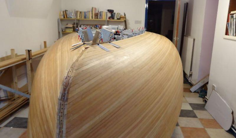 Building a Stornoway 16 wooden dinghy using West System epoxy resin - photo © Steve Goodchild