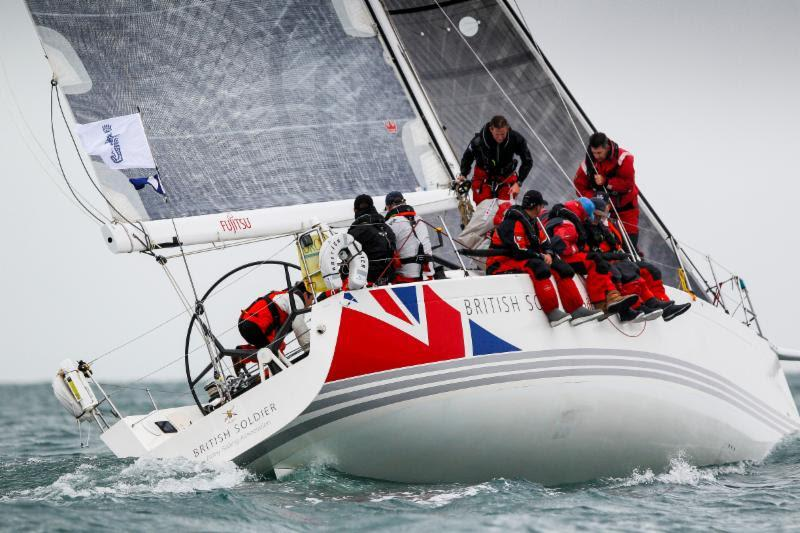 The Army Sailing Association's X-41 British Soldier, skippered by Major Will Naylor arrive in the early hours of Friday morning - photo © RORC